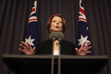 Australian Prime Minister Julia Gillard speaks to the media during a press conference in Canberra (AAP)