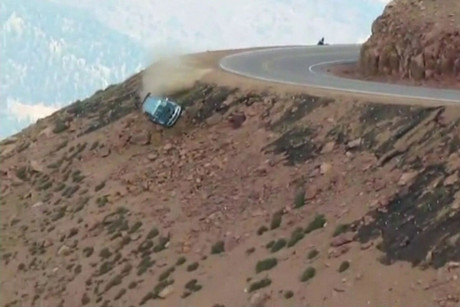 Jeremy Foley's car comes off the side of a mountain in during the race