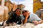 Shia LaBeouf and Michael Bay on the set of Transformers: Revenge of the Fallen