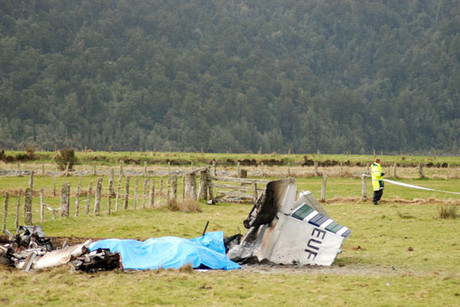 The remains of the plane after the crash