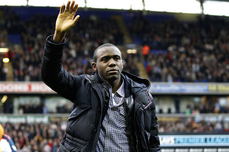 Bolton Wanderers' Fabrice Muamba reacts ahead of their English Premier League soccer match against Tottenham Hotspur at the Reebok Stadium in Bolton (Reuters/Darren Staple)
