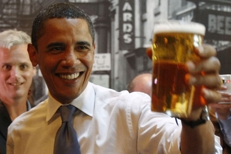 Barack Obama with a beer (Reuters)