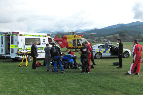 Emergency services at the scene (Photo: Nelson Marlborough Rescue Helicopter)