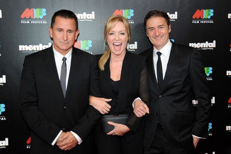 Actors Rebecca Gibney (C), Anthony LaPaglia (L), and Director PJ Hogan (R), on the Red Carpet event at the premiere of Mental at the Melbourne International Film festival (AAP)