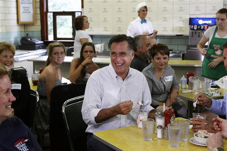 Republican US presidential candidate Romney eats ice cream during a campaign stop at Tom's Ice Cream Bowl in Zanesville (Reuters file)