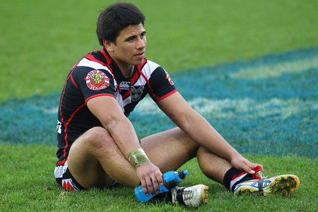 Ben Henry sits dejected after the loss during the NRL game, Vodafone Warriors v Penrith Panthers, Mt Smart Stadium, Auckland (Photosport)