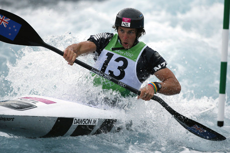New Zealand's Mike Dawson competes in the men's kayak (K1) semifinals at Lee Valley White Water Centre during the London 2012 Olympic Games (Reuters/Lucy Nicholson)
