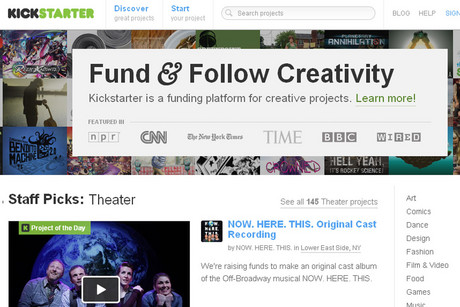 Front page of the Kickstarter website