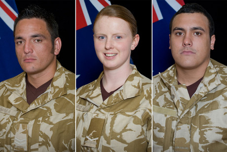 Corporal Luke Tamatea, Lance Corporal Jacinda Baker, and Private Richard Harris