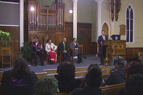 The meeting was held in a central Auckland church