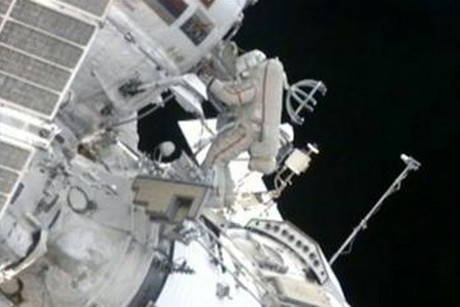 Russian cosmonaut installs shields to protect against zooming pieces of junk (NASA)