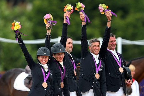 The NZ equestrian team (from left) Jonelle Richards, Caroline Powell, Jonathan Paget, Andrew Nicholson and Mark Todd (Photosport)