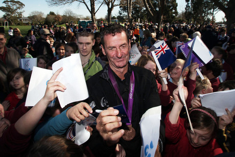 Mark Todd of the New Zealand Olympic team signs autographs (Photosport)