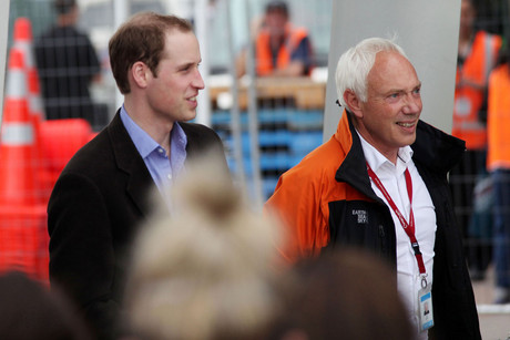 Prince William (left), accompanied by Christchurch Mayor Bob Parker (right) arrives at the earthquake effected area of Christchurch (Photo: AAP)