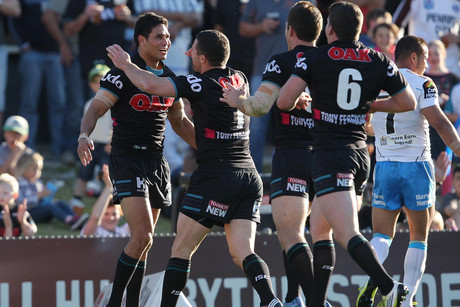 The Panthers celebrate another try (NZN)
