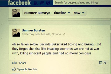 Ms Burstyn's comments on Facebook caused outrage