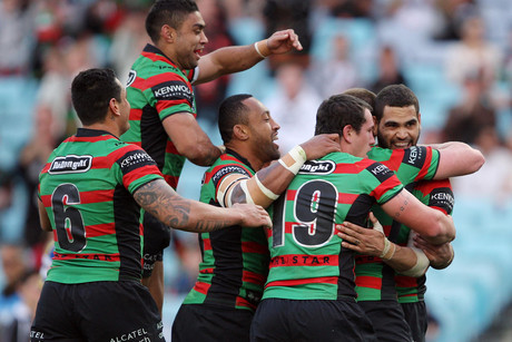Rabbitohs players celebrate (AAP)