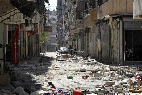 Ruins line a street in the middle of the Salah El Dine neighbourhood of Syria's southwest city of Aleppo (Reuters/Youssef Boudlal)