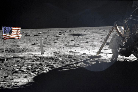 NASA file image shows Neil Armstrong on the moon next to the Lunar Module Eagle (Reuters)