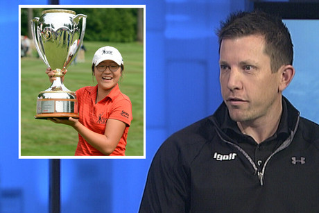 Guy Wilson is interviewed following Lydia Ko's win at the LPGA Canadian Open 