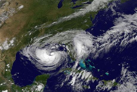Tropical Storm Isaac is pictured as it approaches landfall in this NASA handout satellite image (Reuters)