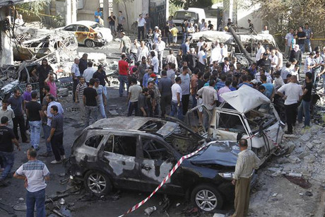 A car bomb exploded at the entrance to a cemetery in southeast Damascus (Reuters)