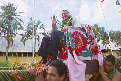 John Key arrived Rarotongan style