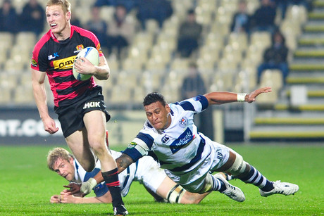 Canterbury's Johnny McNicholl makes a break (Photosport)