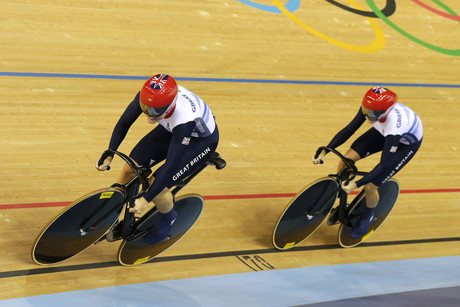 Britain's Victoria Pendleton and Jessica Varnish compete in the track cycling women's team sprint qualifying heats at the Velodrome during the London 2012 Olympic Games (Reuters/Cathal McNaughton)