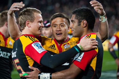 Chiefs' palyers including Robbie Robinson, left, celebrate making the Super Rugby final (Photosport)