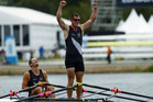 Nathan Cohen and Joseph Sullivan celebrate winning gold in the men's Double Sculls final (Reuters)
