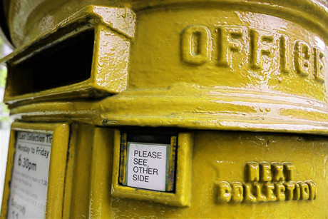 What a gold London mailbox might look like, thanks to the wonders of Photoshop (Reuters)