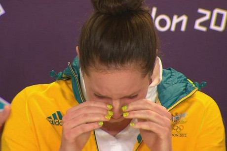 Emily Seebohm breaking down at a press conference after her win
