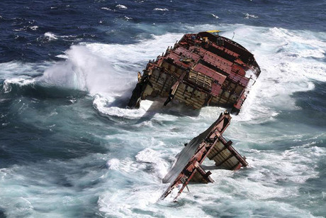 The stern of the Rena sank in January (Reuters)