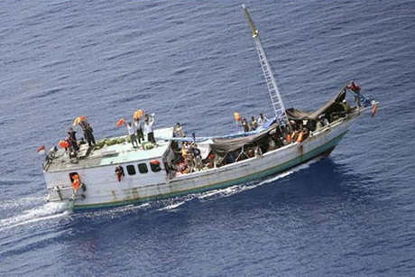 A vessel like this one carrying asylum seekers is in trouble (file)