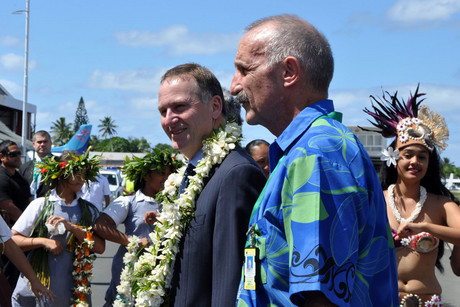 New Zealand Prime Minister John Key and New Zealand High Commissioner to the Cook Islands John Carter in Rarotonga (AAP)