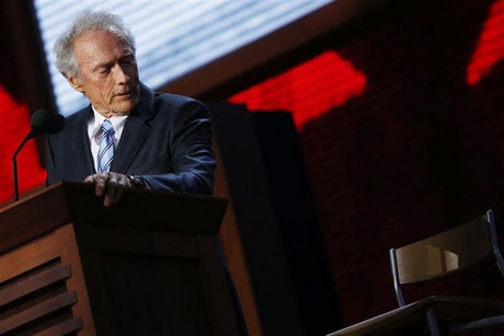 Clint Eastwood talking to a chair at the Republican National Convention (Reuters)