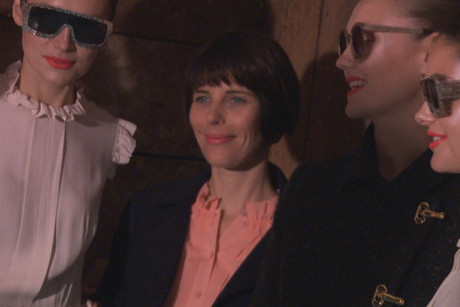 Karen Walker (centre) with models at her show