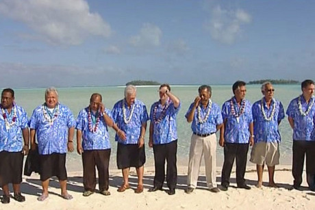 The Pacific Islands' leaders went to a remote island today