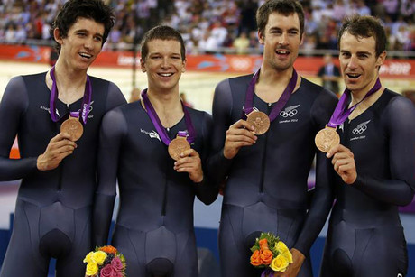 New Zealand's Sam Bewley, Westley Gough, Marc Ryan and Jesse Sergent with their brionze medal (Reuters)