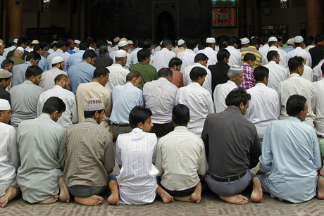 Muslim men perform prayers inside Kashmir's Jamia Masjid during the holy month of Ramadan (Reuters)