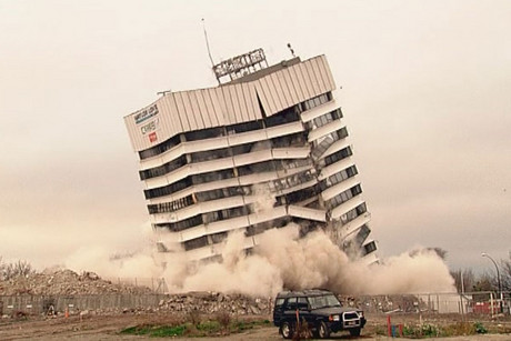 The 6500-tonne building came crashing down in less than 10 seconds