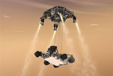 Artist's drawing of landing of MSL Curiousity rover on Mars (Reuters)