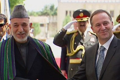 Afghan President Hamid Karzai and New Zealand Prime Minister John Key