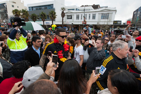 Sonny Bill Williams as he makes his way through the crowd in Garden Place during the Chiefs victory parade along Victoria Street (Photosport)