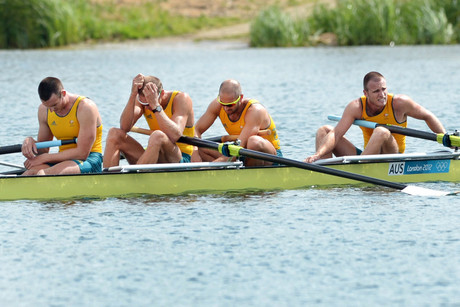 Australia's men's four crew of William Lockwood, James Chapman, Drew Ginn and Joshua Dunkley-Smith after placcing 2nd to take the silver medal in the men's four final of the rowing at Eton Dorney (Photo: AAP)