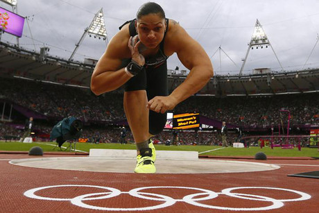 Valerie Adams competes in the women's shot put final (Reuters)