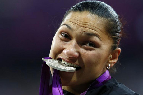 Kiwi Valerie Adams with the silver medal (Reuters)