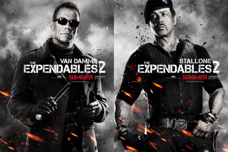 Jean Claude Van Damme and Sylvester Stallone in Expendables 2 poster art