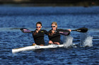 Lisa Carrington and Erin Taylor (training in Takapuna) are through to the kayak doubles final (Photosport)